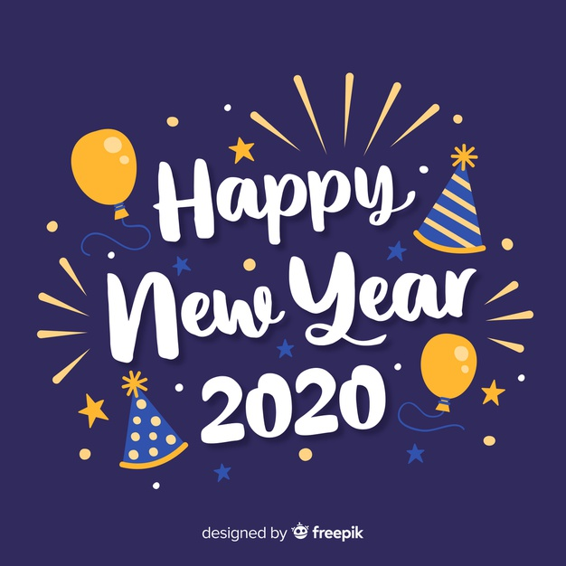 lettering happy new year 2020 with balloons 23 2148317172